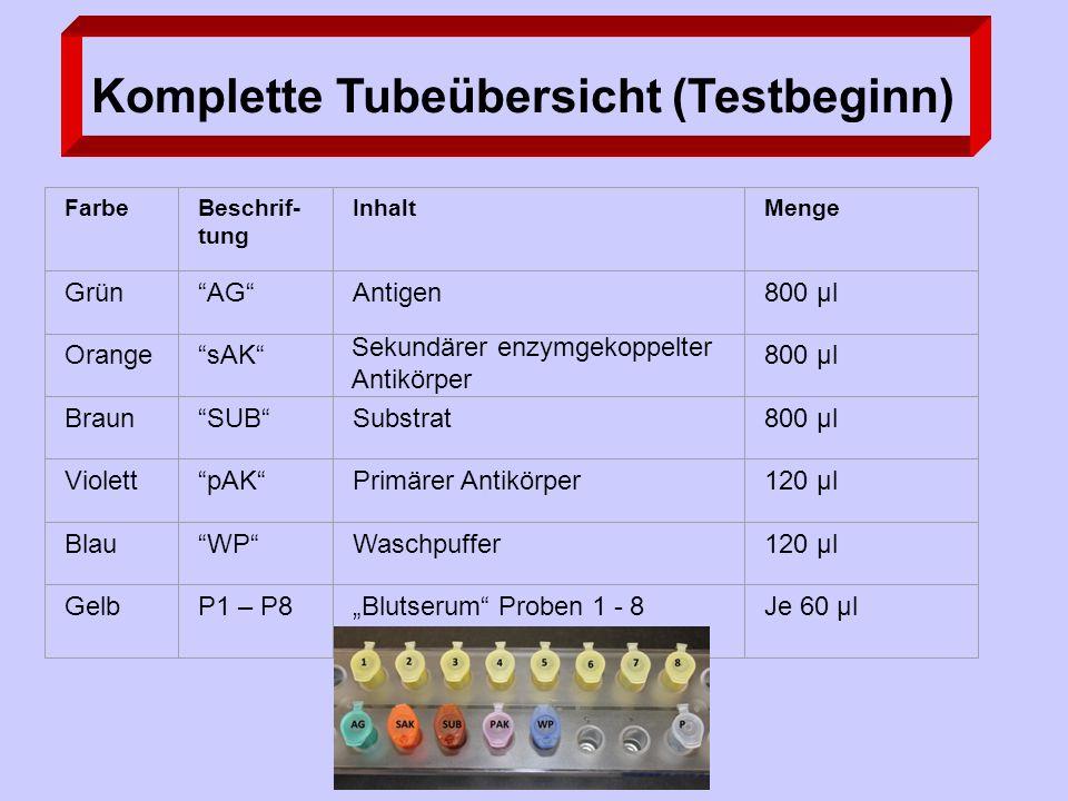 """FarbeBeschrif- tung InhaltMenge Grün AG Antigen800 µl Orange sAK Sekundärer enzymgekoppelter Antikörper 800 µl Braun SUB Substrat800 µl Violett pAK Primärer Antikörper120 µl Blau WP Waschpuffer120 µl GelbP1 – P8""""Blutserum Proben 1 - 8Je 60 µl Komplette Tubeübersicht (Testbeginn)"""