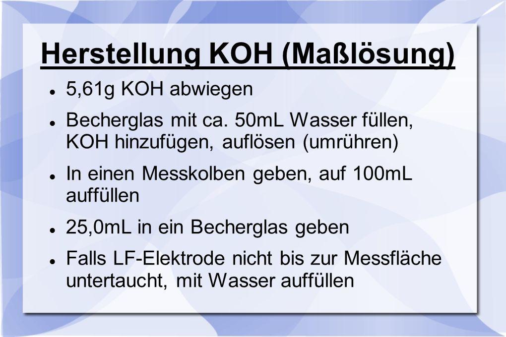 Herstellung HCL (Maßlösung) n(HCL) = c(HCL) * V(HCL) n(HCL) = 1mol/L * 0,1L n(HCL) = 0,1mol m(HCL) = n(HCL) * M(HCL) m(HCL) = 0,1mol/L * 36,4g/mol m(HCL) = 3,64g m(HCL) = m(HCL) : w(HCL) m(HCL) = 3,64g : 0,36 m(HCL) = 10,1g