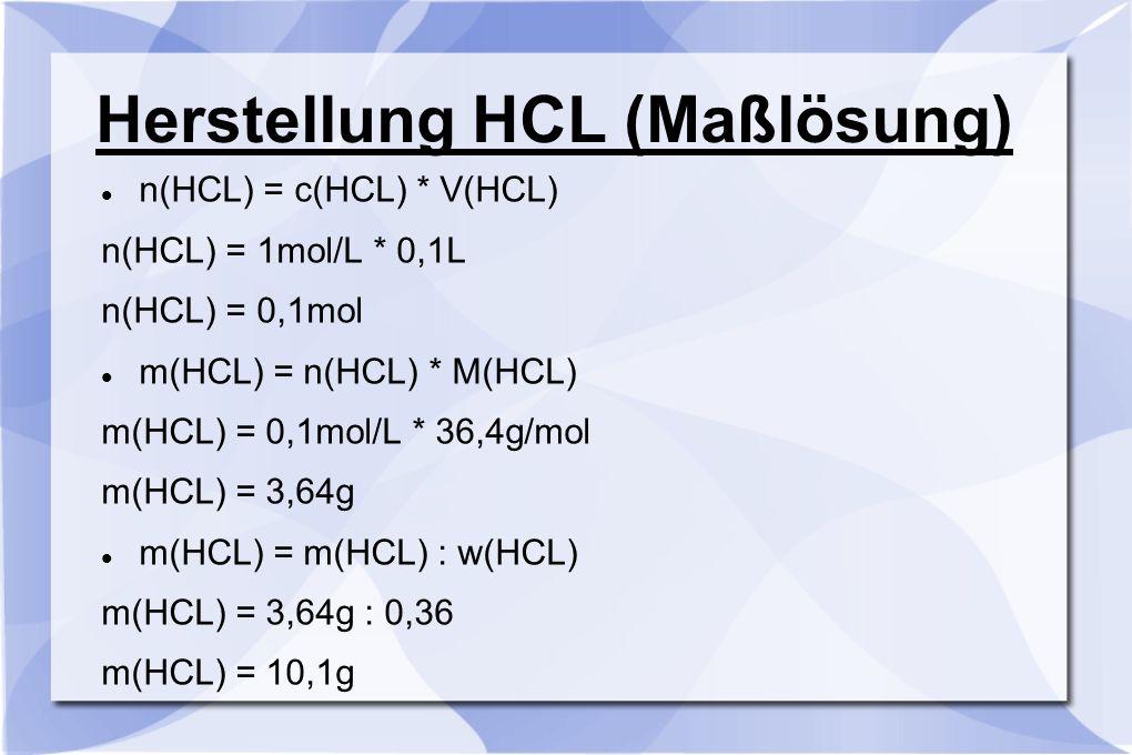 Herstellung HCL (Maßlösung) n(HCL) = c(HCL) * V(HCL) n(HCL) = 1mol/L * 0,1L n(HCL) = 0,1mol m(HCL) = n(HCL) * M(HCL) m(HCL) = 0,1mol/L * 36,4g/mol m(H