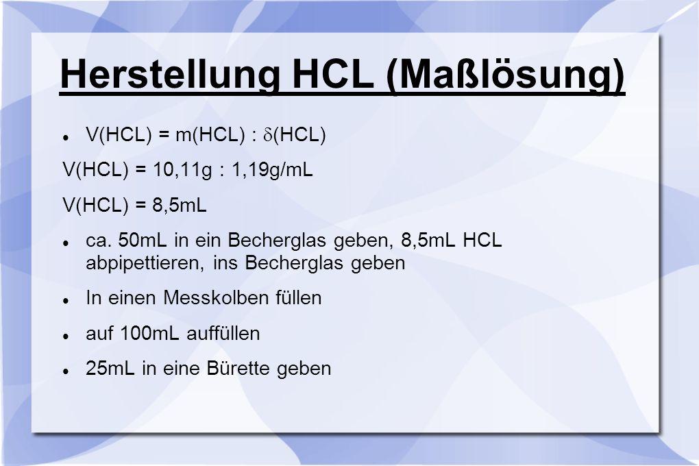 Herstellung HCL (Maßlösung) V(HCL) = m(HCL) :  (HCL) V(HCL) = 10,11g : 1,19g/mL V(HCL) = 8,5mL ca. 50mL in ein Becherglas geben, 8,5mL HCL abpipettie