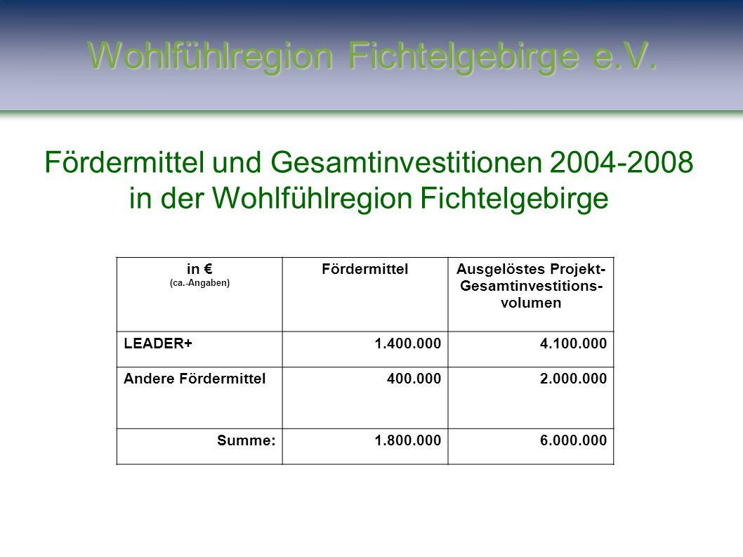 Fördermittel und Gesamtinvestitionen 2004-2008 in der Wohlfühlregion Fichtelgebirge in € (ca.-Angaben) FördermittelAusgelöstes Projekt- Gesamtinvestit
