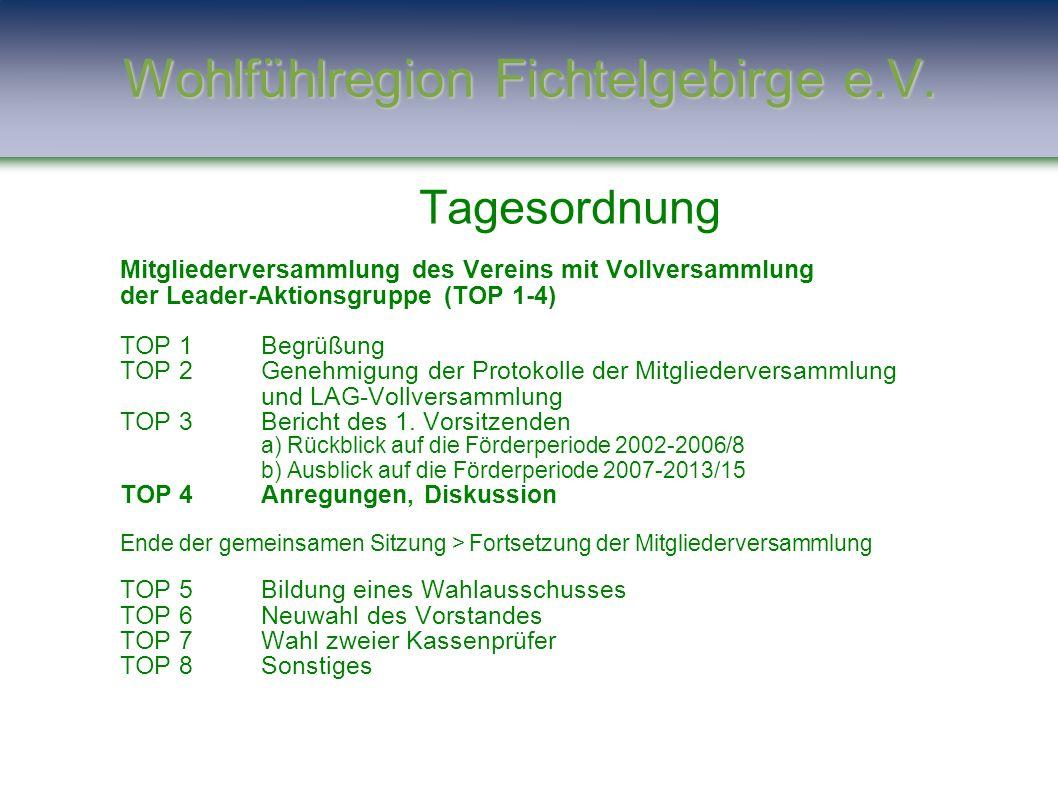 Tagesordnung Mitgliederversammlung des Vereins mit Vollversammlung der Leader-Aktionsgruppe (TOP 1-4) TOP 1Begrüßung TOP 2Genehmigung der Protokolle d