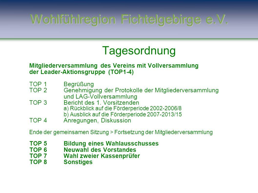 Wohlfühlregion Fichtelgebirge e.V. Tagesordnung Mitgliederversammlung des Vereins mit Vollversammlung der Leader-Aktionsgruppe (TOP1-4) TOP 1Begrüßung
