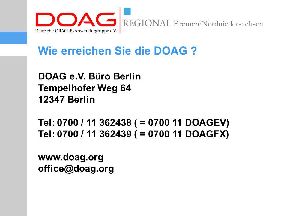 Bremen/Nordniedersachsen Wie erreichen Sie die DOAG .
