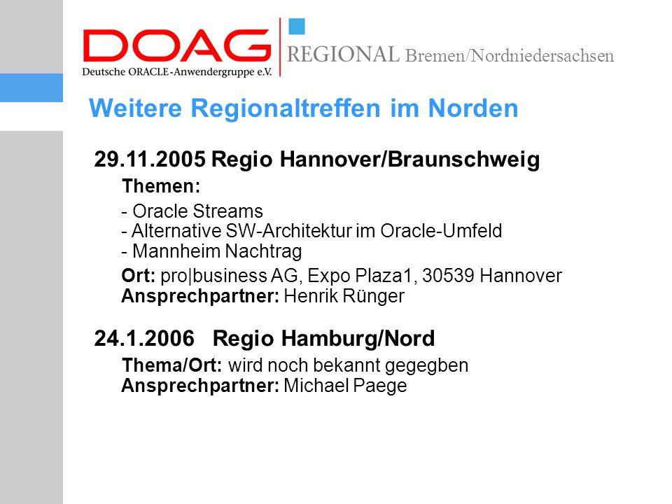 Bremen/Nordniedersachsen Nächste SIG-Termine 21.2.2006 SIG Spatial Ort: Frankfurt Ansprechpartner: Thomas Pahl 22.2.2006 SIG Oracle Text Ort: Frankfurt/Hamburg ?.