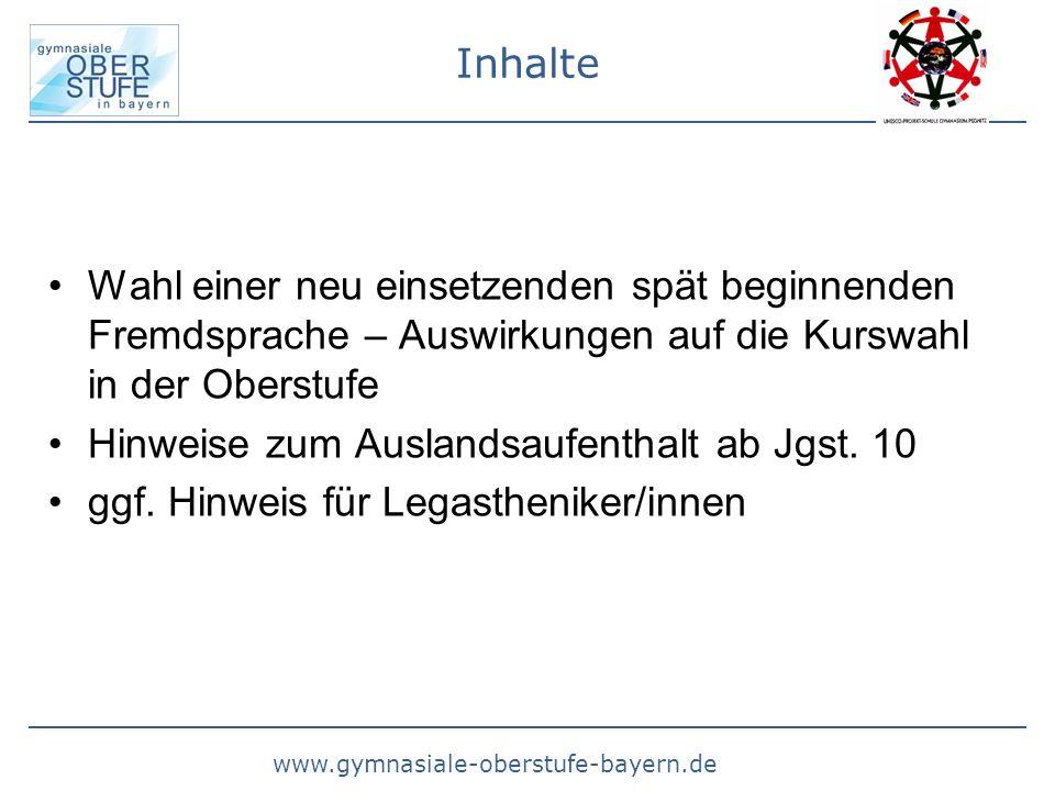 www.gymnasiale-oberstufe-bayern.de Typen von Fremdsprachen Fortgeführte Fremdsprachen: Fremdsprachen, die verpflichtend gelernt werden als -1.