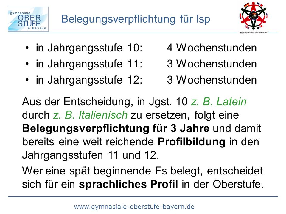 www.gymnasiale-oberstufe-bayern.de Belegungsverpflichtung für Isp in Jahrgangsstufe 10: 4 Wochenstunden in Jahrgangsstufe 11: 3 Wochenstunden in Jahrgangsstufe 12: 3 Wochenstunden Aus der Entscheidung, in Jgst.