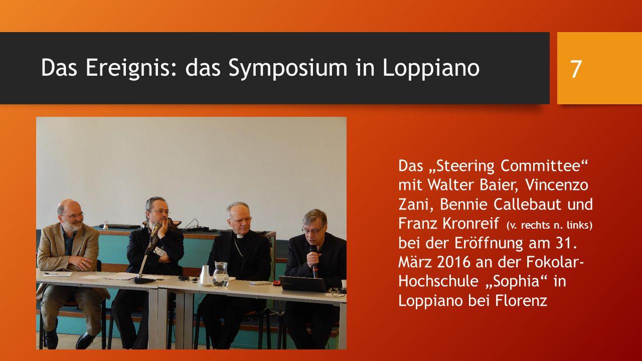 """Das Ereignis: das Symposium in Loppiano Das """"Steering Committee"""" mit Walter Baier, Vincenzo Zani, Bennie Callebaut und Franz Kronreif (v. rechts n. li"""