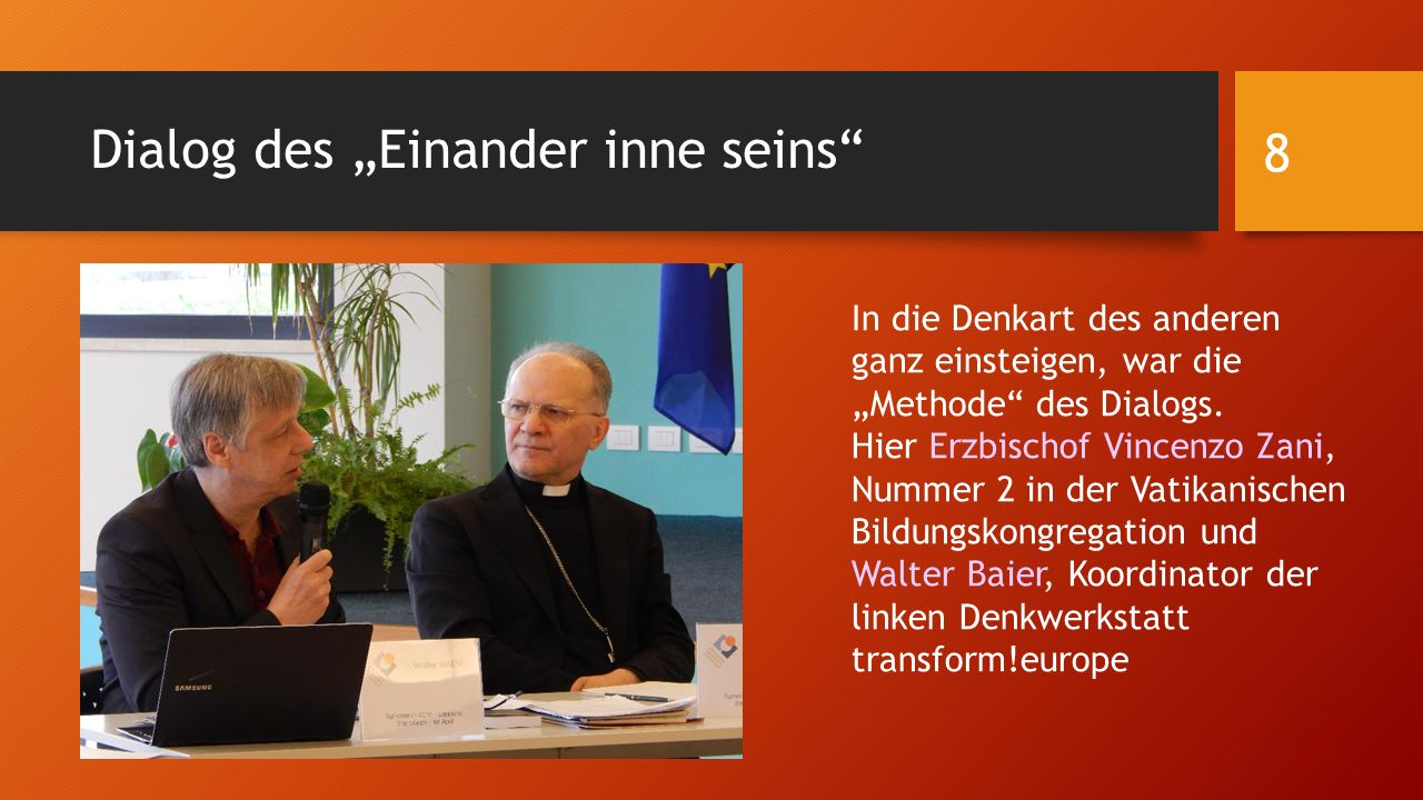 """Dialog des """"Einander inne seins"""" In die Denkart des anderen ganz einsteigen, war die """"Methode"""" des Dialogs. Hier Erzbischof Vincenzo Zani, Nummer 2 in"""