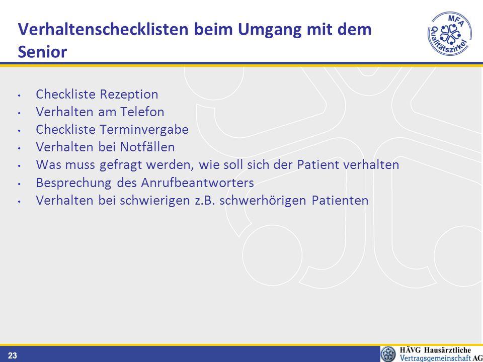 23 Checkliste Rezeption Verhalten am Telefon Checkliste Terminvergabe Verhalten bei Notfällen Was muss gefragt werden, wie soll sich der Patient verhalten Besprechung des Anrufbeantworters Verhalten bei schwierigen z.B.