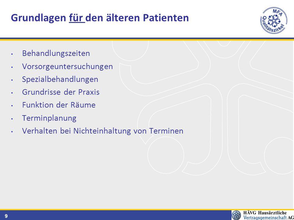9 Behandlungszeiten Vorsorgeuntersuchungen Spezialbehandlungen Grundrisse der Praxis Funktion der Räume Terminplanung Verhalten bei Nichteinhaltung von Terminen Grundlagen für den älteren Patienten