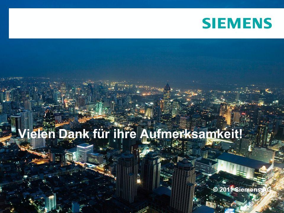 © 2011 Siemens AG Vielen Dank für ihre Aufmerksamkeit!