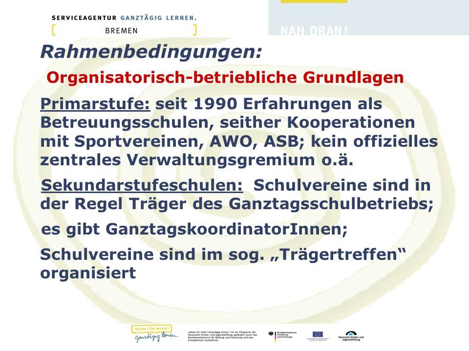 Rahmenbedingungen: Organisatorisch-betriebliche Grundlagen Primarstufe: seit 1990 Erfahrungen als Betreuungsschulen, seither Kooperationen mit Sportvereinen, AWO, ASB; kein offizielles zentrales Verwaltungsgremium o.ä.