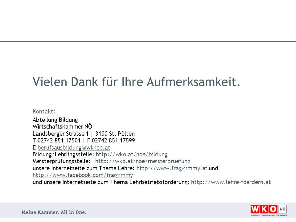 Vielen Dank für Ihre Aufmerksamkeit. Kontakt: Abteilung Bildung Wirtschaftskammer NÖ Landsberger Strasse 1 | 3100 St. Pölten T 02742 851 17501 | F 027