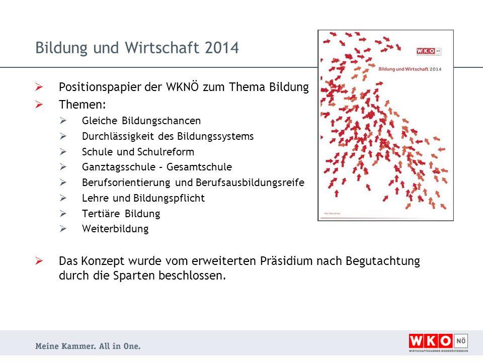 Bildung und Wirtschaft 2014  Positionspapier der WKNÖ zum Thema Bildung  Themen:  Gleiche Bildungschancen  Durchlässigkeit des Bildungssystems  S