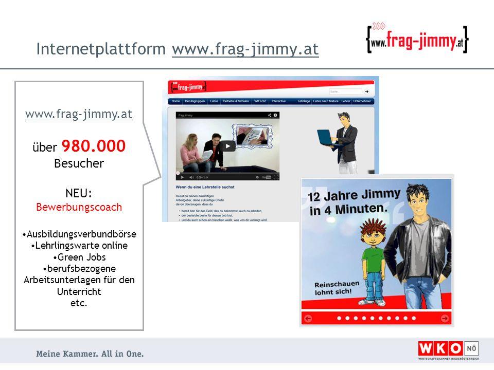 Internetplattform www.frag-jimmy.atwww.frag-jimmy.at über 980.000 Besucher NEU: Bewerbungscoach Ausbildungsverbundbörse Lehrlingswarte online Green Jobs berufsbezogene Arbeitsunterlagen für den Unterricht etc.