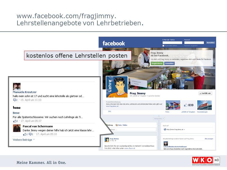 www.facebook.com/fragjimmy. Lehrstellenangebote von Lehrbetrieben. kostenlos offene Lehrstellen posten