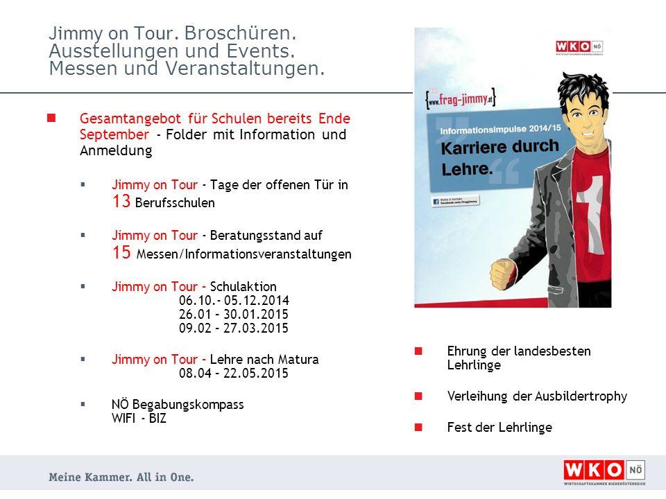 Jimmy on Tour. Broschüren. Ausstellungen und Events.