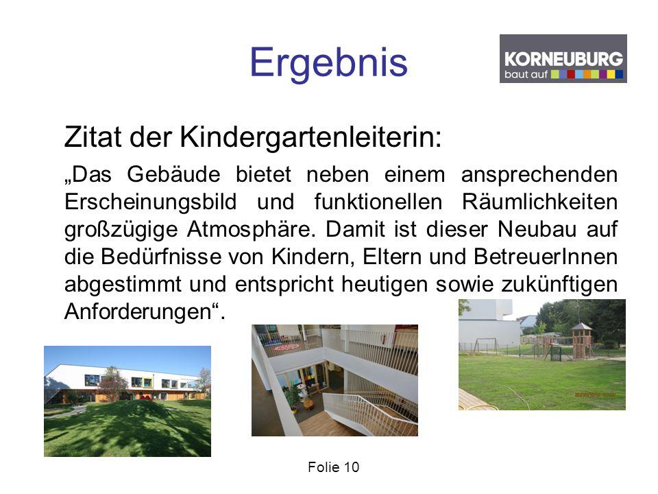 """Folie 10 Ergebnis Zitat der Kindergartenleiterin: """"Das Gebäude bietet neben einem ansprechenden Erscheinungsbild und funktionellen Räumlichkeiten groß"""