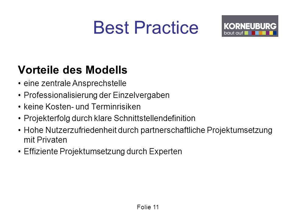 Folie 11 Best Practice Vorteile des Modells eine zentrale Ansprechstelle Professionalisierung der Einzelvergaben keine Kosten- und Terminrisiken Proje
