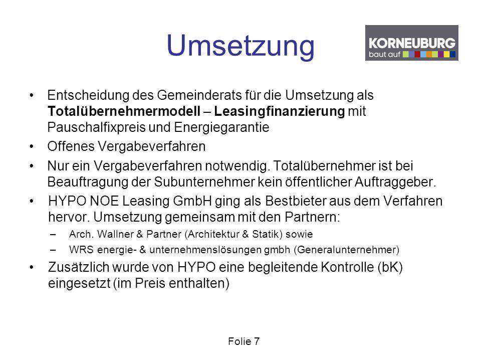 Folie 7 Umsetzung Entscheidung des Gemeinderats für die Umsetzung als Totalübernehmermodell – Leasingfinanzierung mit Pauschalfixpreis und Energiegara