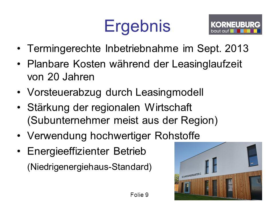 Folie 9 Ergebnis Termingerechte Inbetriebnahme im Sept. 2013 Planbare Kosten während der Leasinglaufzeit von 20 Jahren Vorsteuerabzug durch Leasingmod