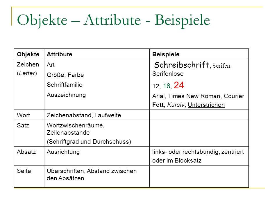 Objekte – Attribute - Beispiele ObjekteAttributeBeispiele Zeichen (Letter) Art Größe, Farbe Schriftfamilie Auszeichnung Schreibschrift, Serifen, Serif
