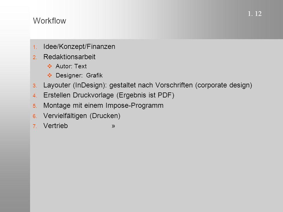 1. 12 Workflow 1. Idee/Konzept/Finanzen 2. Redaktionsarbeit  Autor: Text  Designer: Grafik 3.