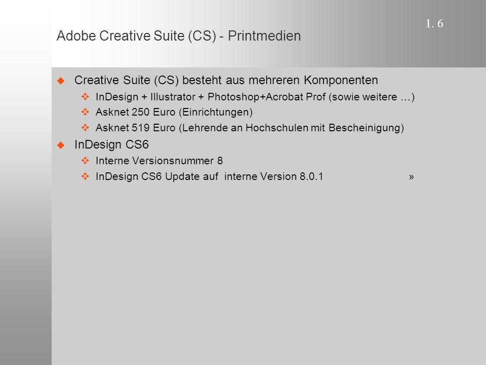 1. 6 Adobe Creative Suite (CS) - Printmedien  Creative Suite (CS) besteht aus mehreren Komponenten  InDesign + Illustrator + Photoshop+Acrobat Prof