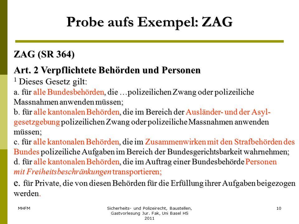 MHFMSicherheits- und Polizeirecht, Baustellen, Gastvorlesung Jur. Fak, Uni Basel HS 2011 10 Probe aufs Exempel: ZAG ZAG (SR 364) Art. 2 Verpflichtete