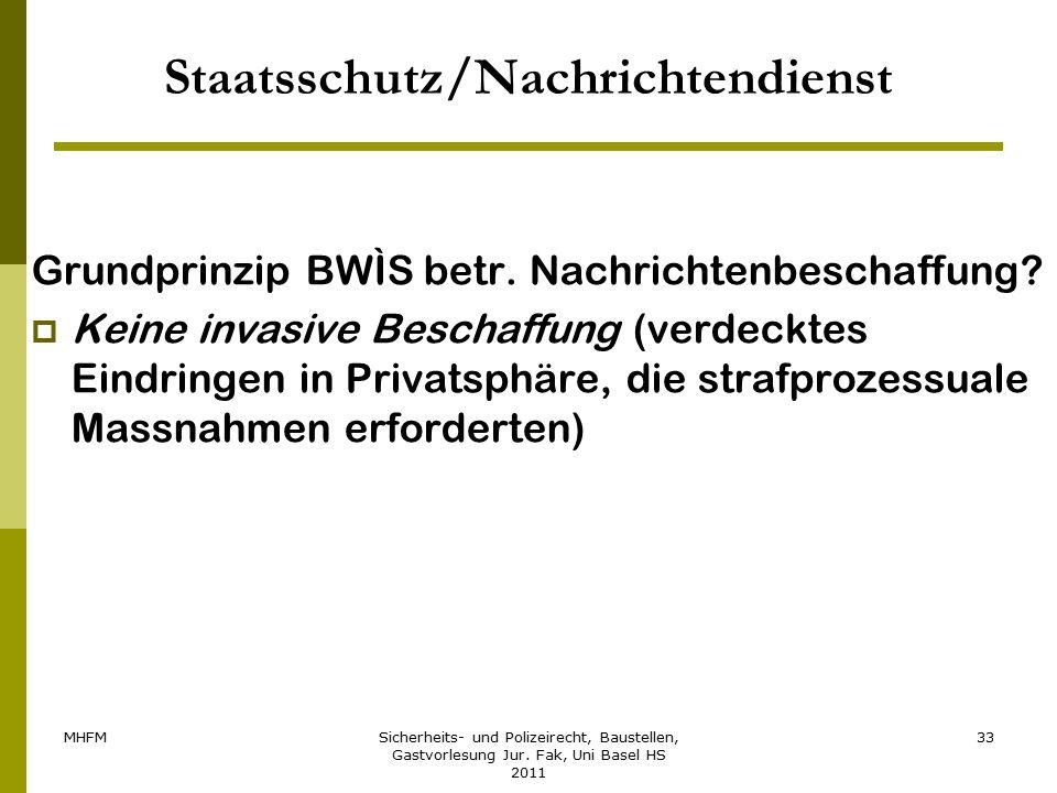 MHFMSicherheits- und Polizeirecht, Baustellen, Gastvorlesung Jur. Fak, Uni Basel HS 2011 33 Staatsschutz/Nachrichtendienst Grundprinzip BWÌS betr. Nac