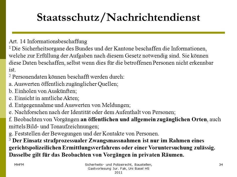 MHFMSicherheits- und Polizeirecht, Baustellen, Gastvorlesung Jur. Fak, Uni Basel HS 2011 34 Staatsschutz/Nachrichtendienst Art. 14 Informationsbeschaf
