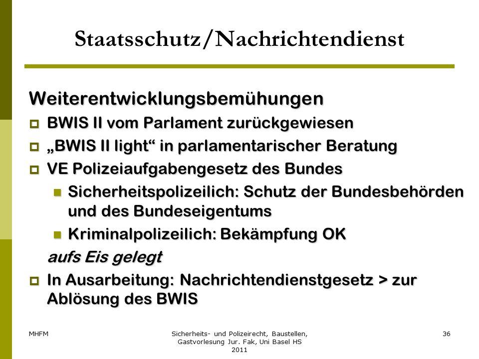 MHFMSicherheits- und Polizeirecht, Baustellen, Gastvorlesung Jur. Fak, Uni Basel HS 2011 36 Staatsschutz/Nachrichtendienst Weiterentwicklungsbemühunge