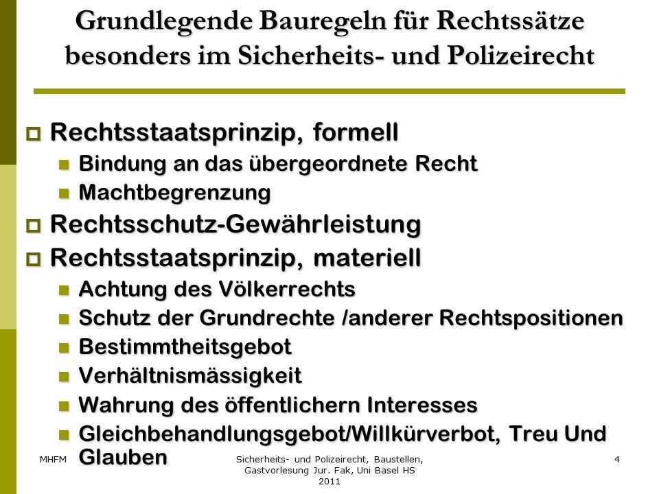 MHFMSicherheits- und Polizeirecht, Baustellen, Gastvorlesung Jur. Fak, Uni Basel HS 2011 4 Grundlegende Bauregeln für Rechtssätze besonders im Sicherh