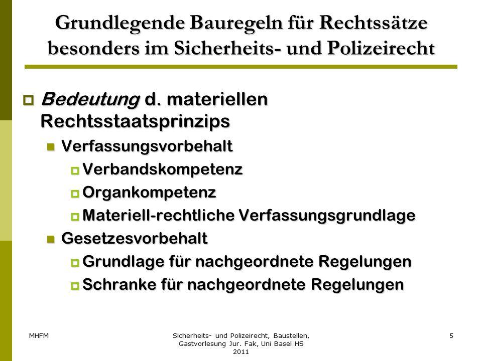 MHFMSicherheits- und Polizeirecht, Baustellen, Gastvorlesung Jur. Fak, Uni Basel HS 2011 5 Grundlegende Bauregeln für Rechtssätze besonders im Sicherh