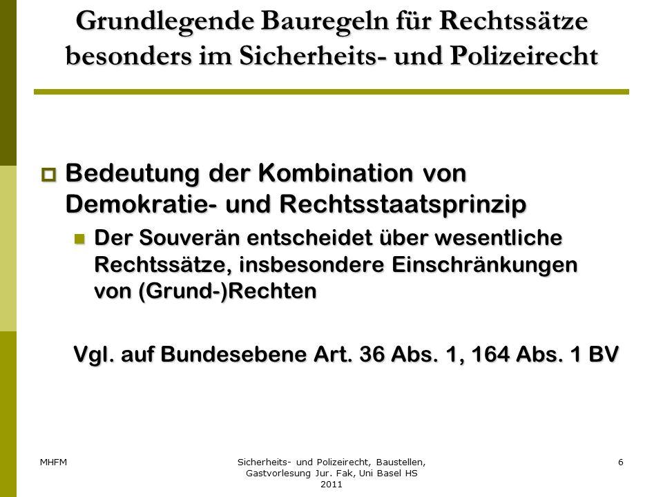 MHFMSicherheits- und Polizeirecht, Baustellen, Gastvorlesung Jur. Fak, Uni Basel HS 2011 6 Grundlegende Bauregeln für Rechtssätze besonders im Sicherh