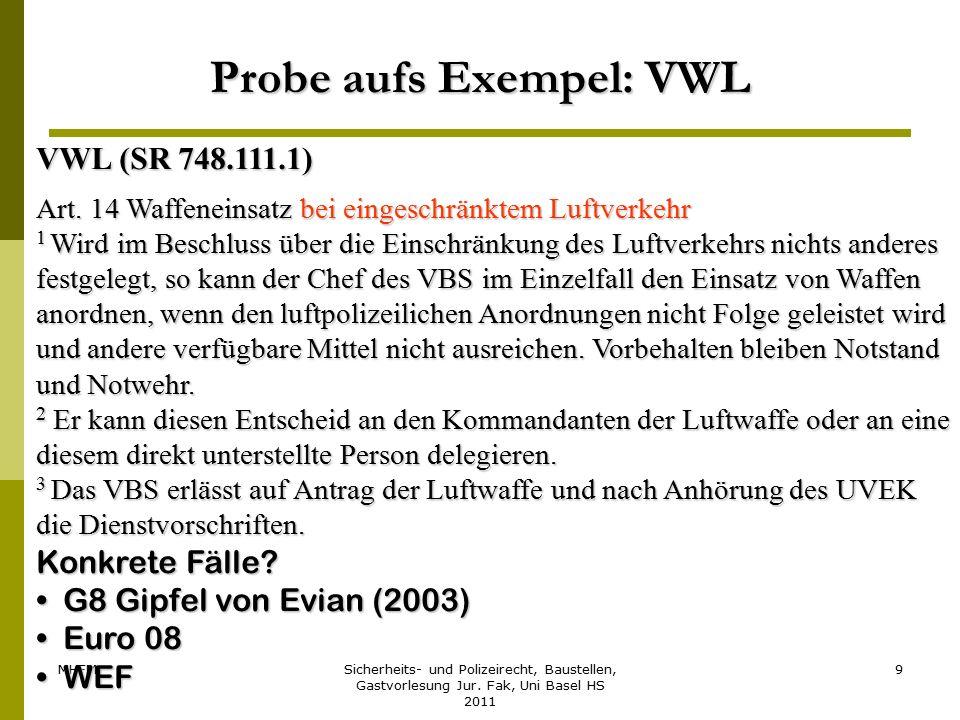 MHFMSicherheits- und Polizeirecht, Baustellen, Gastvorlesung Jur. Fak, Uni Basel HS 2011 9 Probe aufs Exempel: VWL VWL (SR 748.111.1) Art. 14 Waffenei