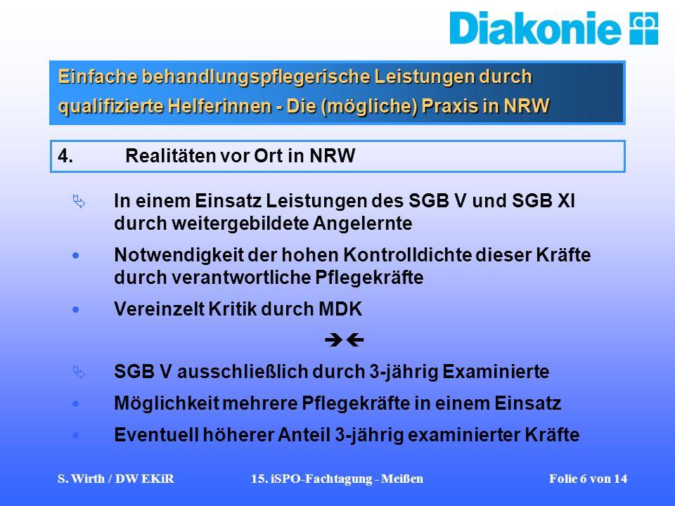 S. Wirth / DW EKiR15. iSPO-Fachtagung - Meißen Folie 6 von 14 Einfache behandlungspflegerische Leistungen durch qualifizierte Helferinnen - Die (mögli