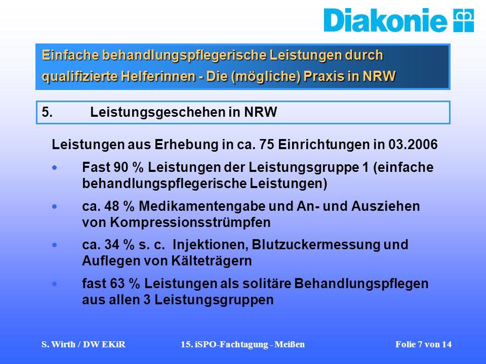 S. Wirth / DW EKiR15. iSPO-Fachtagung - Meißen Folie 7 von 14 Einfache behandlungspflegerische Leistungen durch qualifizierte Helferinnen - Die (mögli