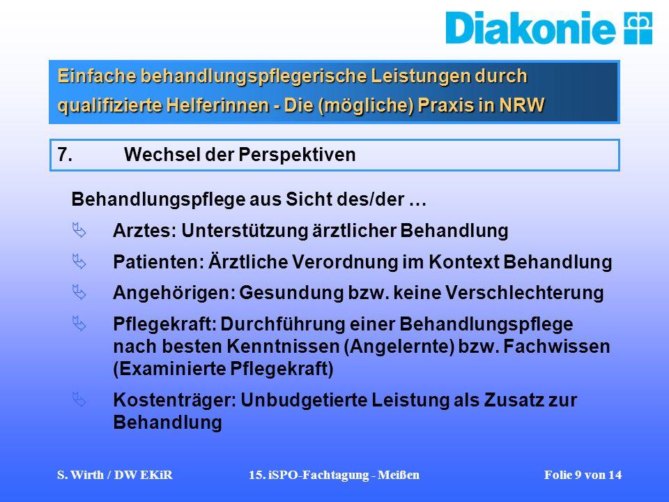 S. Wirth / DW EKiR15. iSPO-Fachtagung - Meißen Folie 9 von 14 Einfache behandlungspflegerische Leistungen durch qualifizierte Helferinnen - Die (mögli