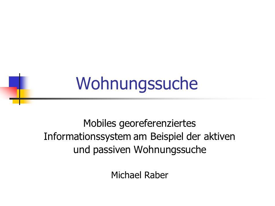 Aufgabenstellung GPS-gestütztes System zum Abrufen von ortsgebundenen Informationen Zwei verschiedene Suchmodi (aktiv und passiv) Interaktion mit PocketNavigator für die Wegberechnung Web-Interface zum Hinzufügen von neuen Wohnungen zur Datenbank