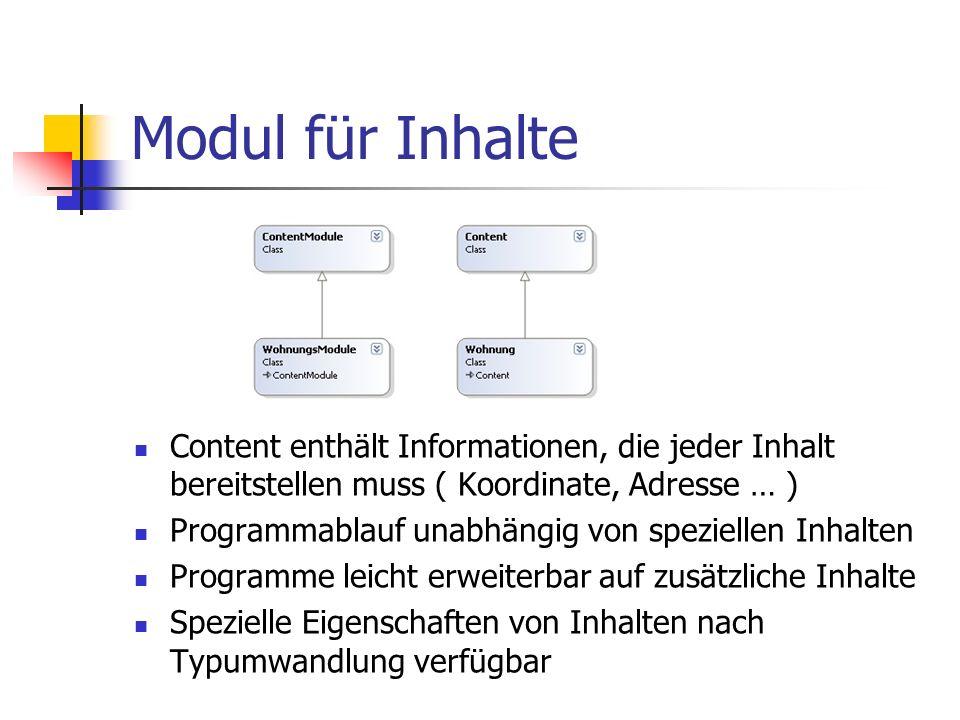 Modul für Inhalte Content enthält Informationen, die jeder Inhalt bereitstellen muss ( Koordinate, Adresse … ) Programmablauf unabhängig von spezielle