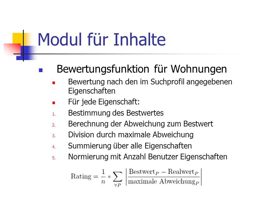 Modul für Inhalte Bewertungsfunktion für Wohnungen Bewertung nach den im Suchprofil angegebenen Eigenschaften Für jede Eigenschaft: 1. Bestimmung des