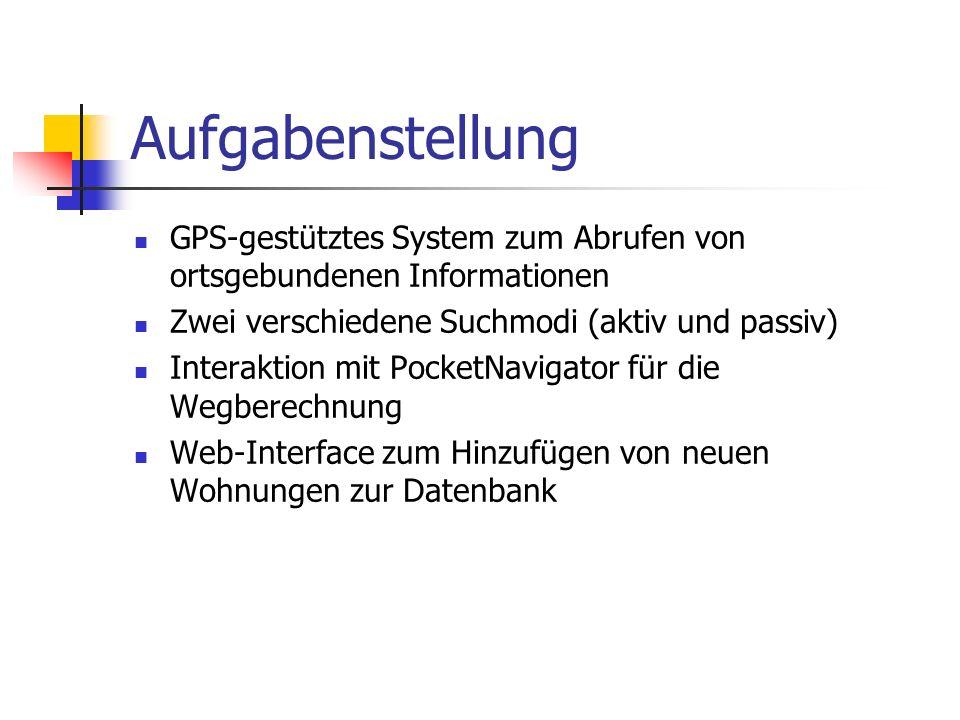 Aufgabenstellung GPS-gestütztes System zum Abrufen von ortsgebundenen Informationen Zwei verschiedene Suchmodi (aktiv und passiv) Interaktion mit Pock