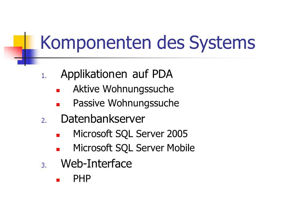 Komponenten des Systems 1. Applikationen auf PDA Aktive Wohnungssuche Passive Wohnungssuche 2. Datenbankserver Microsoft SQL Server 2005 Microsoft SQL