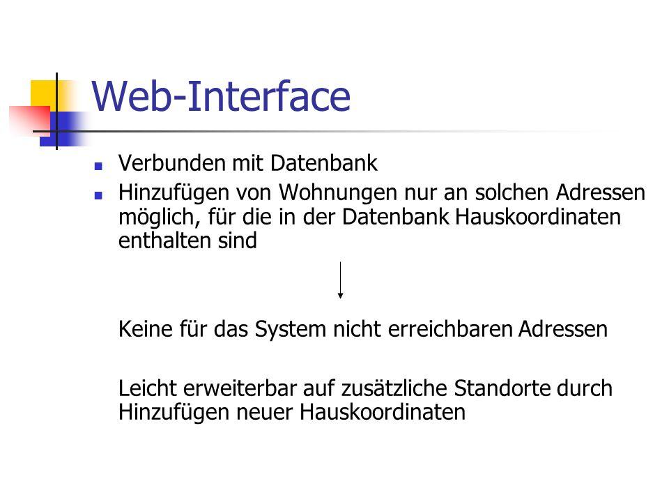 Web-Interface Verbunden mit Datenbank Hinzufügen von Wohnungen nur an solchen Adressen möglich, für die in der Datenbank Hauskoordinaten enthalten sin