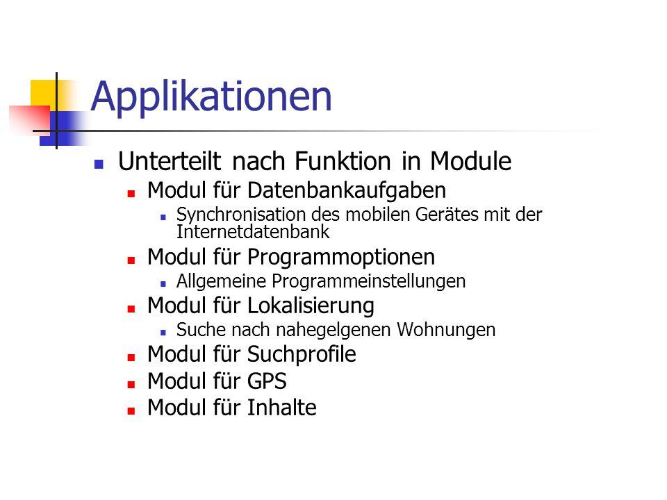 Applikationen Unterteilt nach Funktion in Module Modul für Datenbankaufgaben Synchronisation des mobilen Gerätes mit der Internetdatenbank Modul für P
