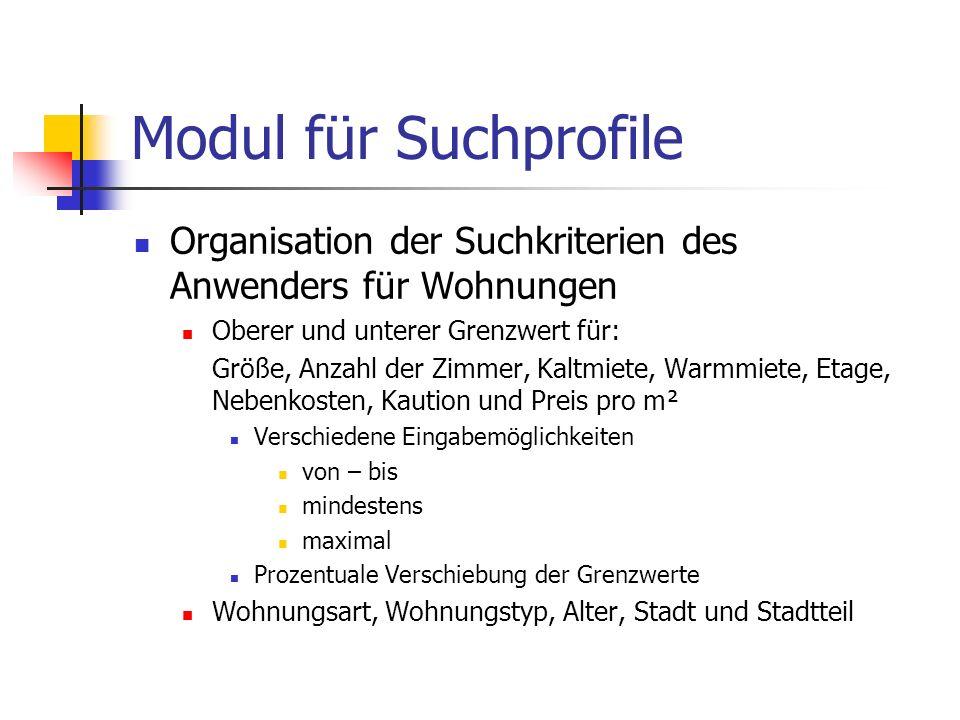 Modul für Suchprofile Organisation der Suchkriterien des Anwenders für Wohnungen Oberer und unterer Grenzwert für: Größe, Anzahl der Zimmer, Kaltmiete