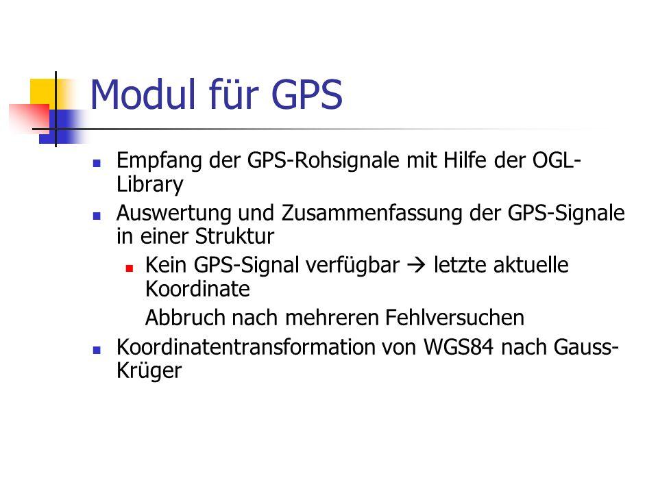 Modul für GPS Empfang der GPS-Rohsignale mit Hilfe der OGL- Library Auswertung und Zusammenfassung der GPS-Signale in einer Struktur Kein GPS-Signal v