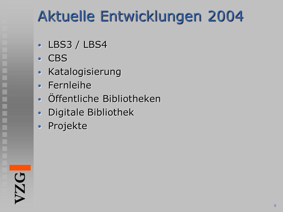 VZG 9 Aktuelle Entwicklungen 2004 LBS3 / LBS4 LBS3 / LBS4 CBS CBS Katalogisierung Katalogisierung Fernleihe Fernleihe Öffentliche Bibliotheken Öffentliche Bibliotheken Digitale Bibliothek Digitale Bibliothek Projekte Projekte